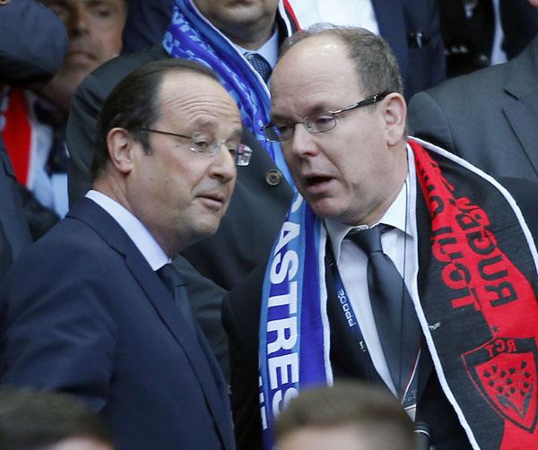 El príncipe Alberto II de Mónaco y Francois Hollande - Top 14 final entre Toulon vs Castres París  31/05/2014