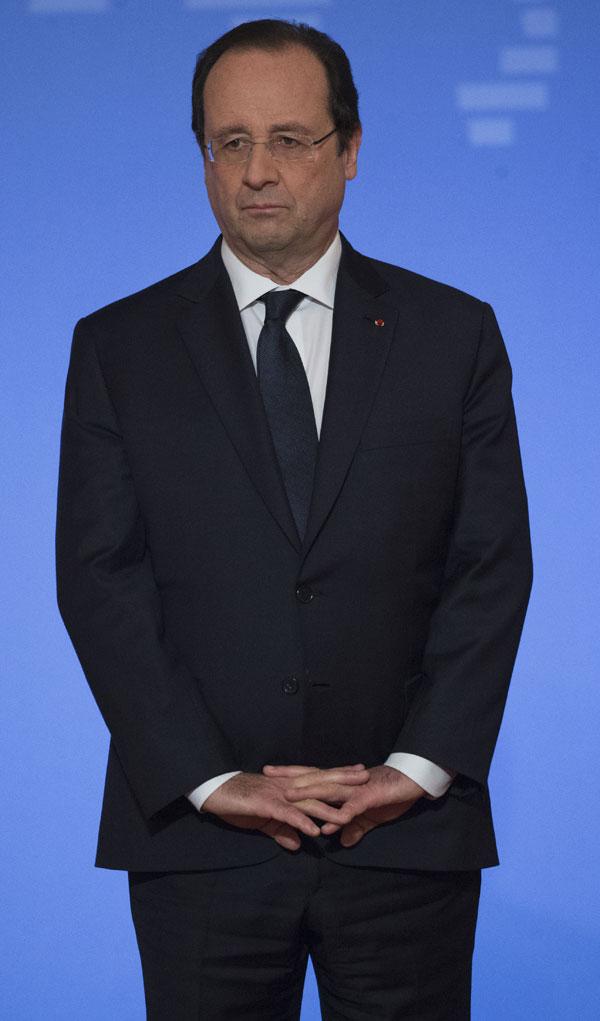 El presidente de Francia, Francois Hollande da un discurso de Año Nuevo a los embajadores extranjeros en Francia, en París, Viernes, 17 de enero 2014 . Ciudad : Paris