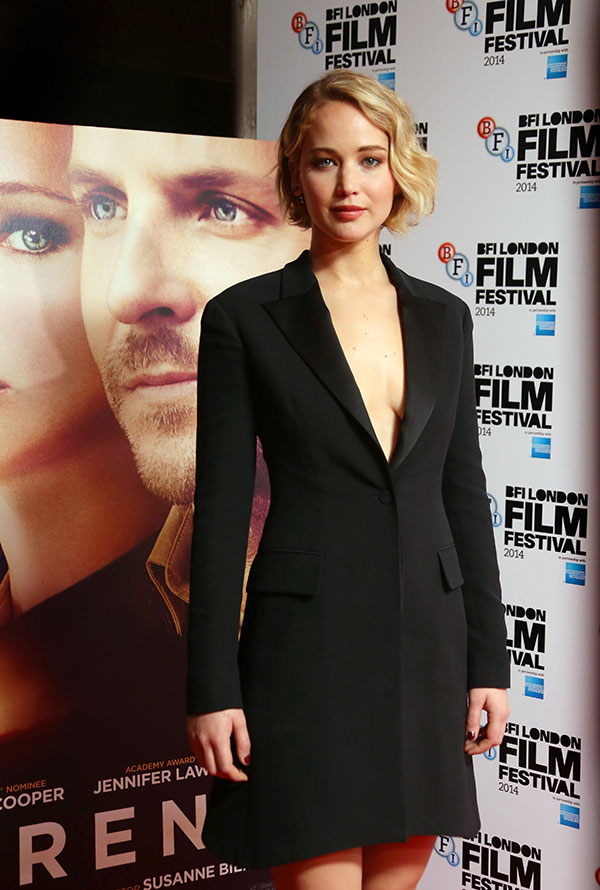 Actress Jennifer Lawrence during the photo call for the film Serena, as part of the BFI London Film Festival, at the Vue cinema in central London, Monday, Oct. 13, 2014