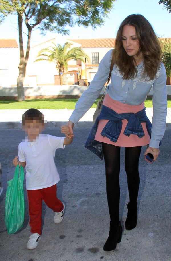Jessica Bueno en Los Molares (Sevilla) el día del primer cumpleaños de su hijo Francisco