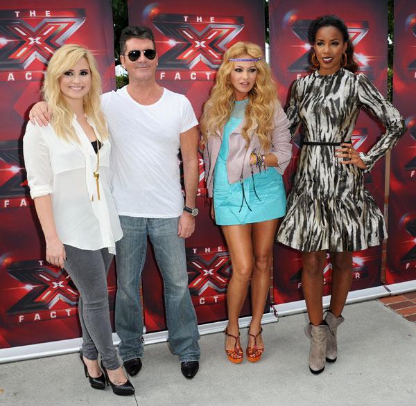 Jurado de la tercera edición de Factor X con Demi Lovato, Simon Cowell, Paulina Rubio y Kelly Rowland