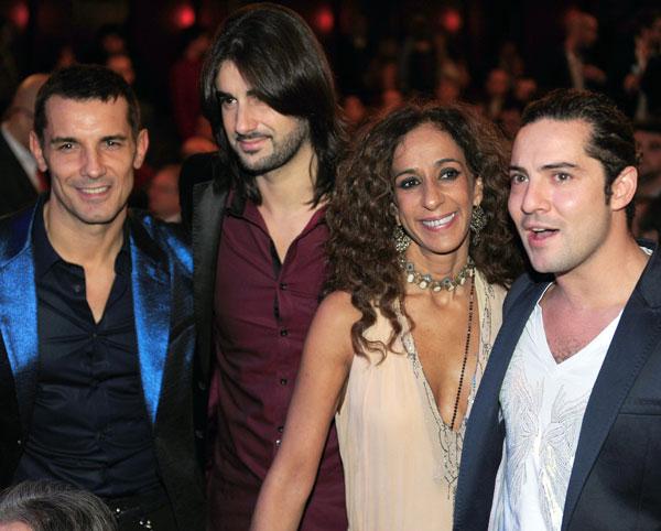 Melendi con Jesús Vázquez, Rosario y Bisbal en los Ondas 2012