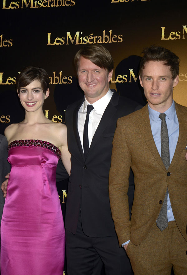 Anne Hathaway, Tom Hooper, Eddie Redmayne