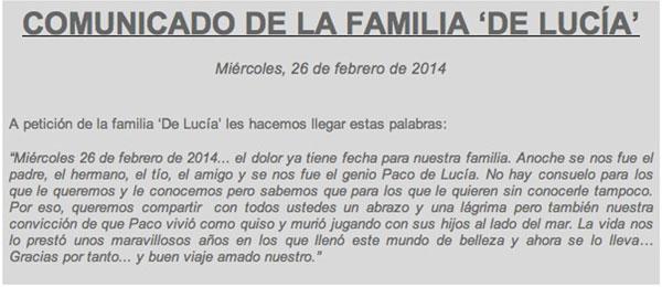 comunicado de la familia De Lucía tras la muerte de Paco de Lucía, 26/02/2014