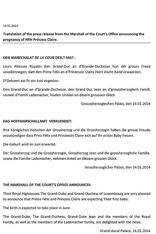 comunicado de palacio del nacimiento de la primera nieta de los grandes duques de luxemnburgo 15 de junio ded 2014