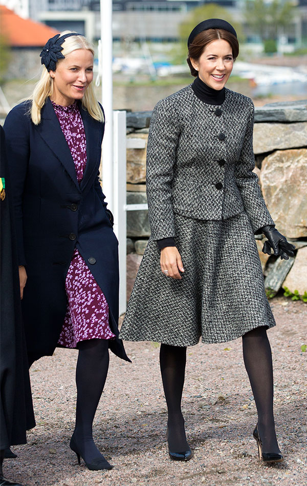 Crown Princess Mette-Marit and Crown Princess Mary of Denmark attend the commemoration of the battle off Heligoland in 1864. Kristiansand, 09-05-2014