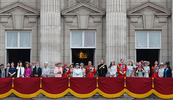 Britain's Queen Elizabeth II, surrounded by members of the family appear on the balcony of Buckingham Palace, during the Trooping The Colour parade, in central London, Saturday, June 14, 2014.