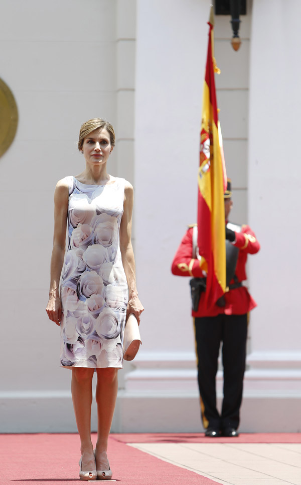 Spanish Queen Letizia Ortiz visits to the presidential palace in El Salvador during her oficial visit to El Salvador on Thursday 28, May 2015