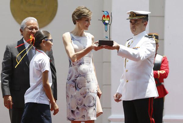 Spanish Queen Letizia Ortiz and President of El Salvador, Salvador Sanchez Cerén visit to the presidential palace in El Salvador during her oficial visit to El Salvador on Thursday 28, May 2015