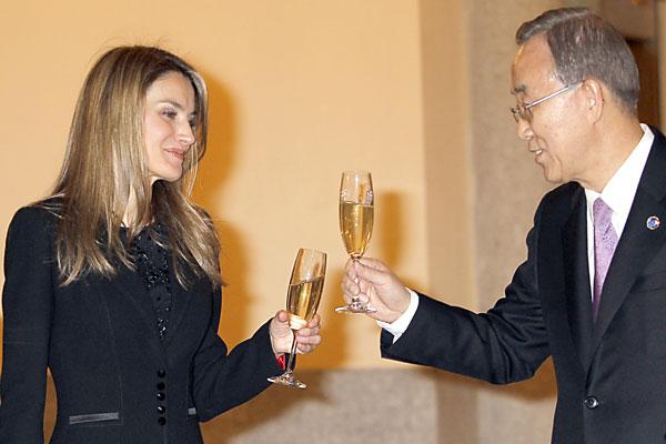 letizia con el secretario general de la ONU