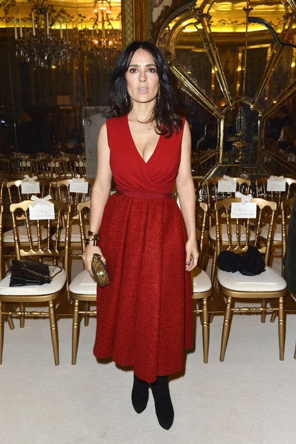 salma hayek en la semana de la moda de paris